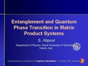 Entanglement and Quantum Phase Transition in Matrix Product