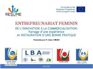 ENTREPREUNARIAT FEMININ DE LINNOVATION LA COMMERCIALISATION Partage dune