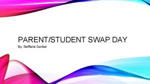 PARENTSTUDENT SWAP DAY By Steffanie Dunbar PARENTSTUDENT SWAP