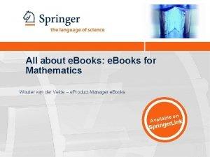All about e Books e Books for Mathematics