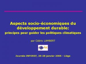 Aspects socioconomiques du dveloppement durable principes pour guider