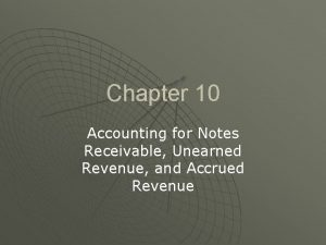 Chapter 10 Accounting for Notes Receivable Unearned Revenue