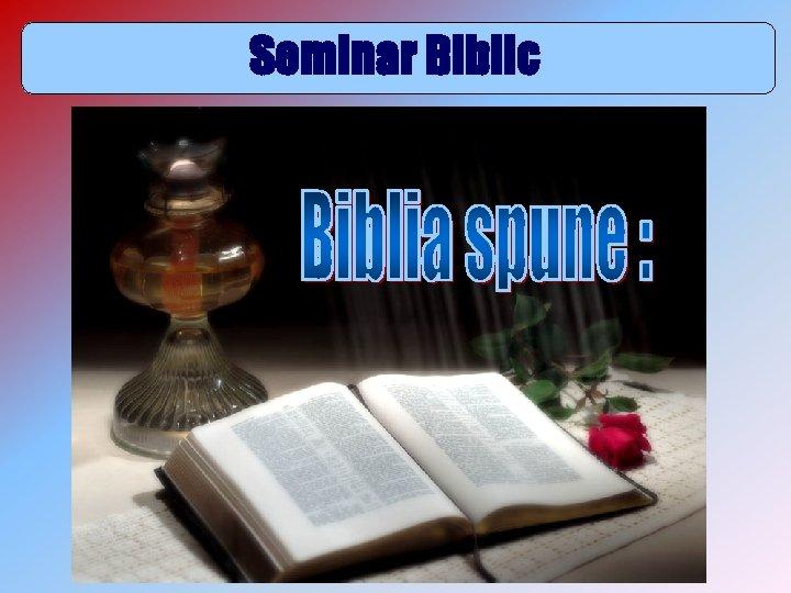 Seminar Biblic Biblia spune 9 DOMNUL NOSTRU VINE