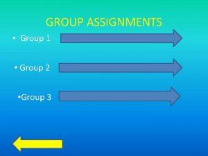 GROUP ASSIGNMENTS Group 1 Group 2 Group 3