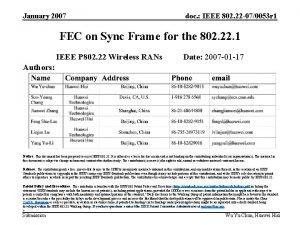 January 2007 doc IEEE 802 22 070053 r
