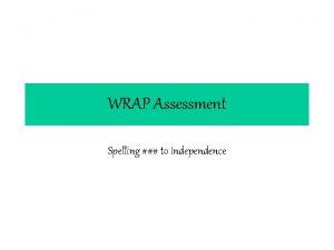 WRAP Assessment Spelling to independence WRAP Analysis Name