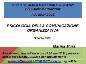 CORSO DI LAUREA MAGISTRALE IN SCIENZE DELLAMMINISTRAZIONE A