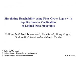 Simulating Reachability using FirstOrder Logic with Applications to