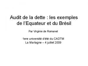 Audit de la dette les exemples de lEquateur