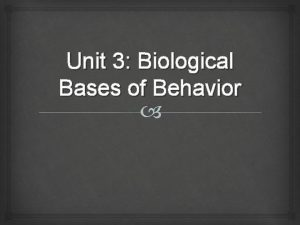 Unit 3 Biological Bases of Behavior Biological Bases