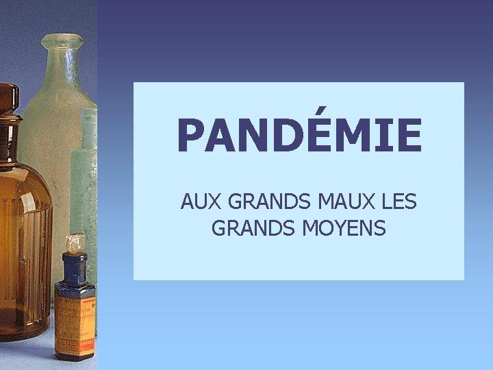 PANDMIE AUX GRANDS MAUX LES GRANDS MOYENS 4