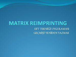 MATRIX REIMPRINTING EFT TEKN UYGULAMASI GEM YENDEN YAZMAK