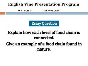 English Vine Presentation Program u NT I Unit