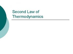 Second Law of Thermodynamics Second Law of Thermodynamics