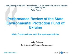 Tenth Meeting of the EAP Task Force EECCA