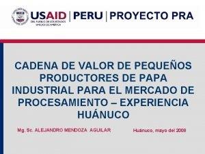 CADENA DE VALOR DE PEQUEOS PRODUCTORES DE PAPA