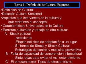 Tema 1 Definicin de Cultura Esquema Definicin de