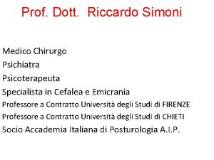 Prof Dott Riccardo Simoni Medico Chirurgo Psichiatra Psicoterapeuta