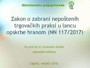 Ministarstvo poljoprivrede Zakon o zabrani nepotenih trgovakih praksi