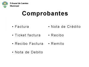 Tribunal de Cuentas Municipal Comprobantes Factura Nota de