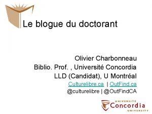 Le blogue du doctorant Olivier Charbonneau Biblio Prof