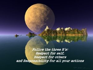Follow the three Rs Respect for self Respect