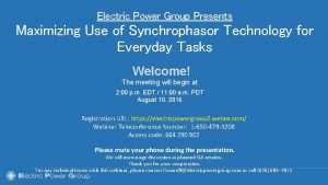 Electric Power Group Presents Maximizing Use of Synchrophasor