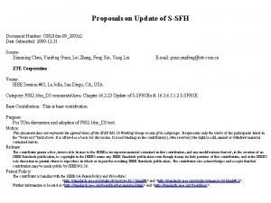 Proposals on Update of SSFH Document Number C