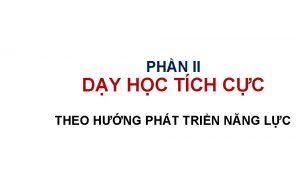 PHN II DY HC TCH CC THEO HNG