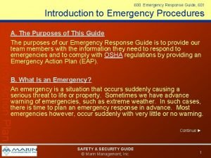 600 Emergency Response Guide 601 Introduction to Emergency