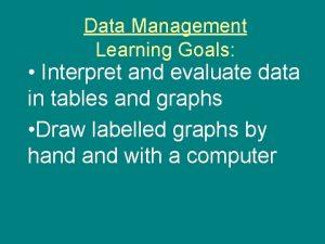 Data Management Learning Goals Interpret and evaluate data