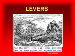 LEVERS Archimedes Introducing The Lever A lever includes