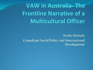 VAW in Australia The Frontline Narrative of a