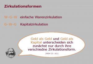 Zirkulationsformen WGW einfache Warenzirkulation GWG Kapitalzirkulation Geld als