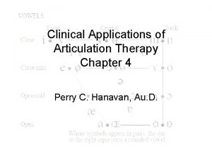 Clinical Applications of Articulation Therapy Chapter 4 Perry