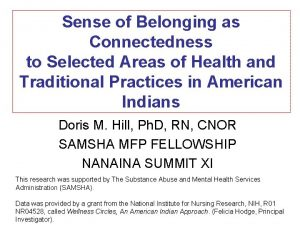 Sense of Belonging as Connectedness to Selected Areas