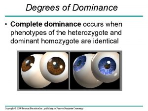 Degrees of Dominance Complete dominance occurs when phenotypes