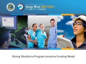 Strong Workforce Program Incentive Funding Model Strong Workforce
