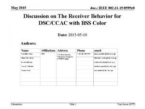 May 2015 doc IEEE 802 11 150595 r