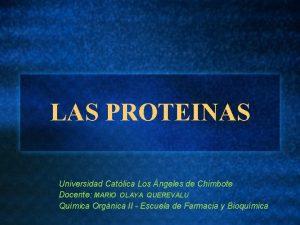 LAS PROTEINAS Universidad Catlica Los ngeles de Chimbote