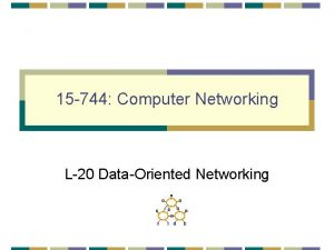 15 744 Computer Networking L20 DataOriented Networking Outline