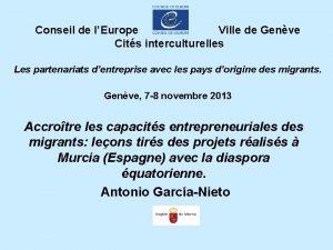 Conseil de lEurope Ville de Genve Cits interculturelles