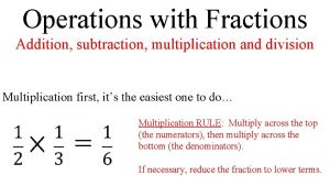 Operations with Fractions Addition subtraction multiplication and division