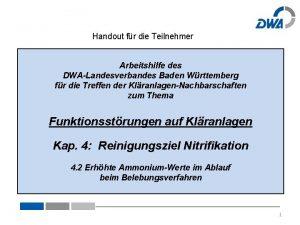 Handout fr die Teilnehmer Arbeitshilfe des DWALandesverbandes Baden