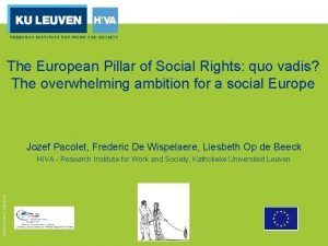 The European Pillar of Social Rights quo vadis
