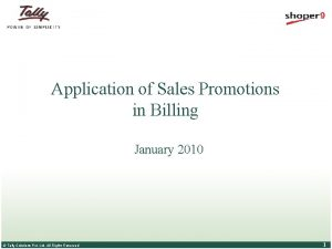 Application of Sales Promotions in Billing January 2010