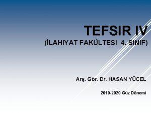TEFSIR IV LAHIYAT FAKLTESI 4 SINIF Ar Gr