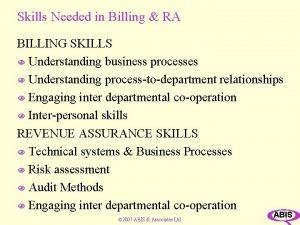 Skills Needed in Billing RA BILLING SKILLS N