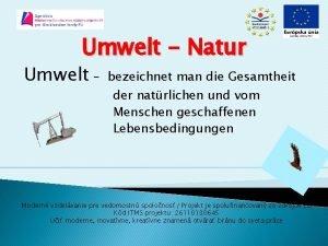 Umwelt Natur Umwelt bezeichnet man die Gesamtheit der