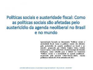 Polticas sociais e austeridade fiscal Como as polticas